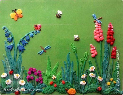 Картина панно рисунок Мастер-класс Аппликация из пластилина + обратная Летняя полянка Картон Пластилин Скотч фото 1