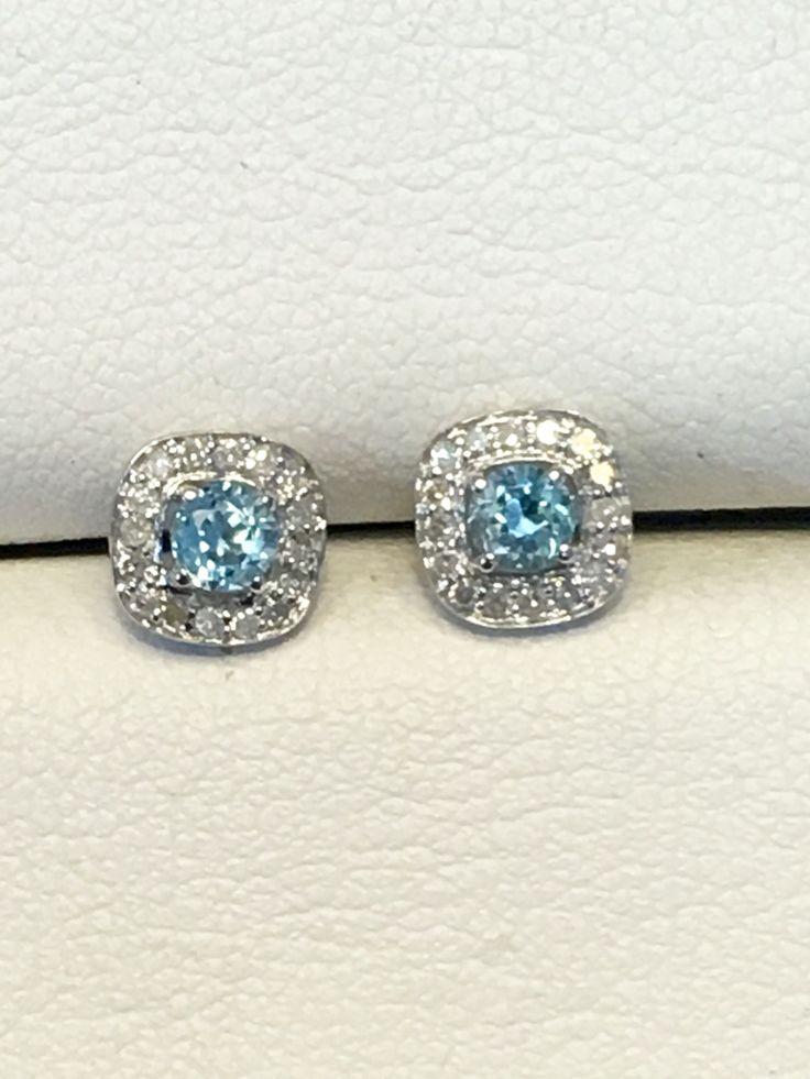 Blue topaz and diamond stud earrings