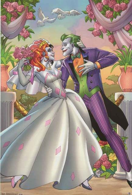 """These two are """"crazy"""" about each other! A great poster of two of Batman's nemeses - The Joker and Harley Quinn - from DC Comics. Fully licensed. Ships fast. 22x34 inches. Our amazing selection of Batm"""