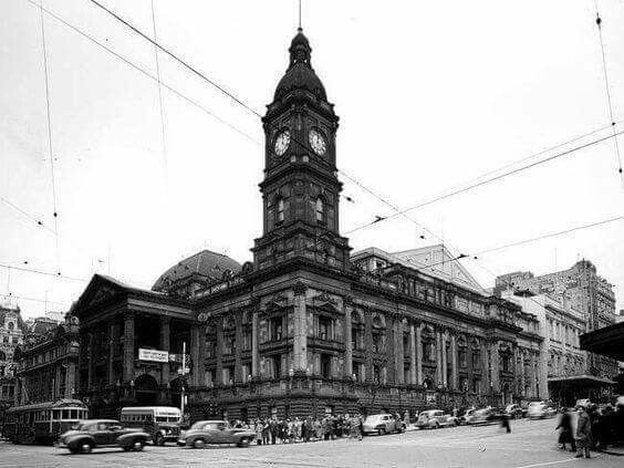 Melbourne Town Hall at the intersection of in Swanston and Collins Streets in 1951.