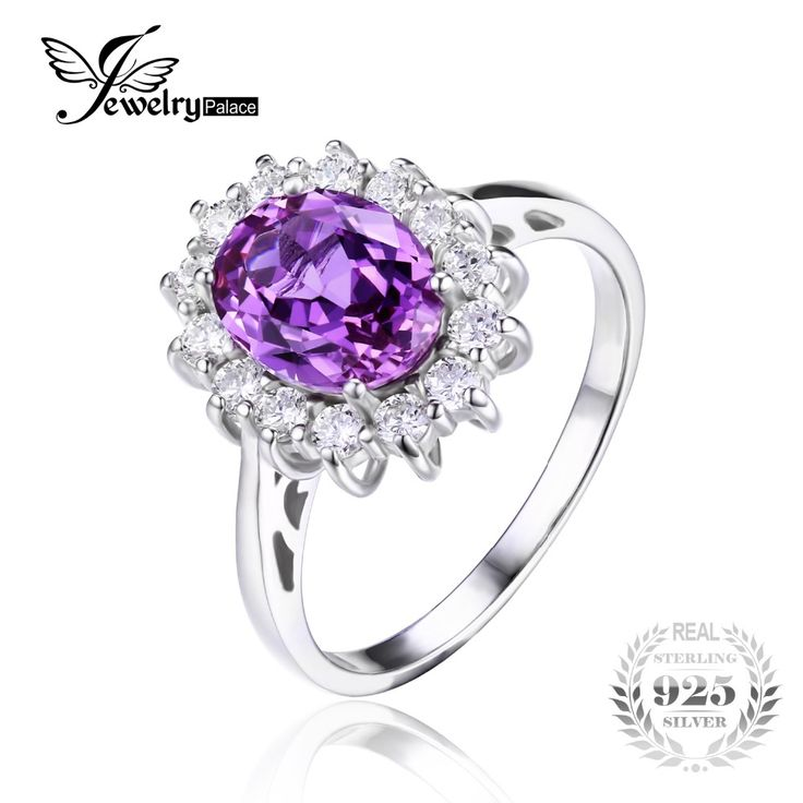 Jewelrypalace Princess Diana William Kate Middleton's 3.2ct Created Alexandrite Sapphire Ring 925 Sterling Silver Brand Jewelry
