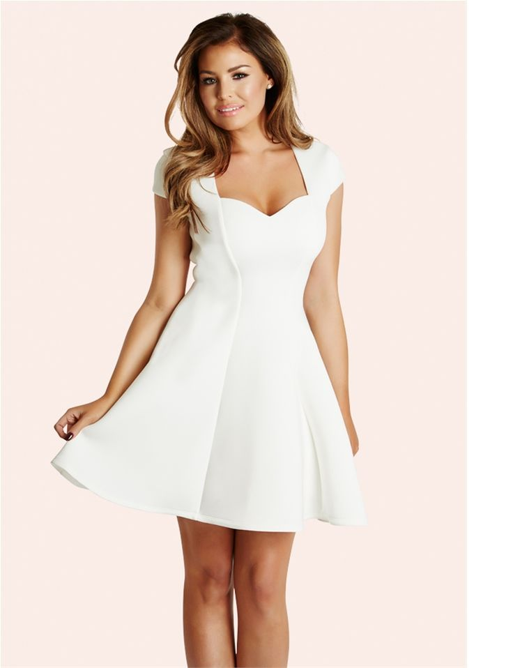 Jessica Wright Mollie White Scuba Skater Dress from the Sistaglam Occasion Wear and Wedding Collecton
