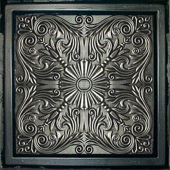 "Astana Antique Silver Black (24x24"" Pvc) Ceiling Tile by Antique Ceilings. $7.98. Universal Installation - Drop in Grid system, Glue-on, Nail-on. Tin like look from a modern material. High quality PVC matterial. Easy to cut. Can be painted with most any water or latex based paints. PVC ceiling tiles come in 24""x24"" size. Feather-light, easy to install, easy to clean, stain resistant, water resistant, dust free, and easy to cut. They can be cut with any house hold scissors. Ca..."
