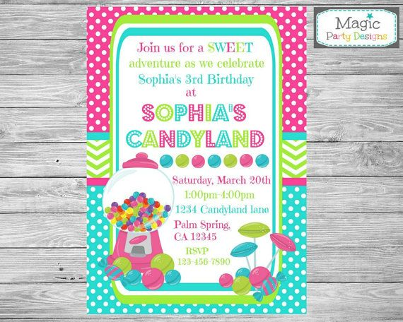 Best 25 Candy invitations ideas – Candyland Birthday Party Invitations