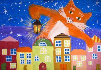 """Детский рисунок гуашью """"Волшебный кот"""""""