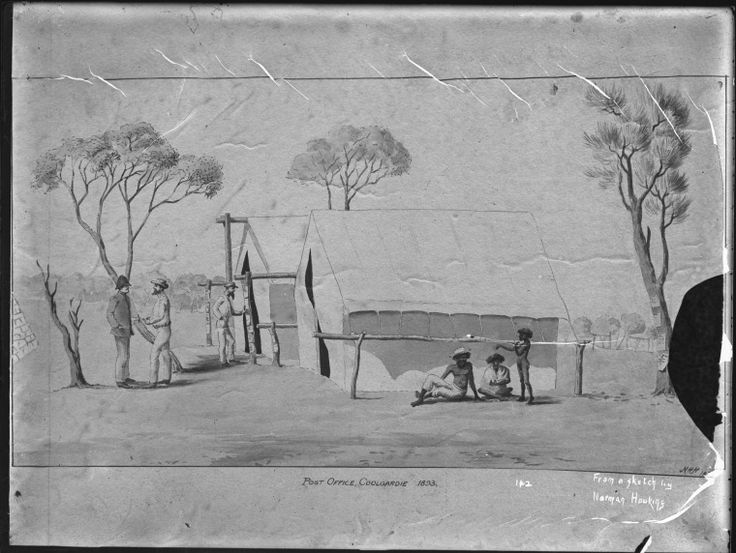 010162PD: Tent post office at Coolgardie, 1893.  From a sketch by Norman Hawkins.  http://encore.slwa.wa.gov.au/iii/encore/record/C__Rb2536175__S010162pd__Orightresult__U__X3?lang=eng&suite=def