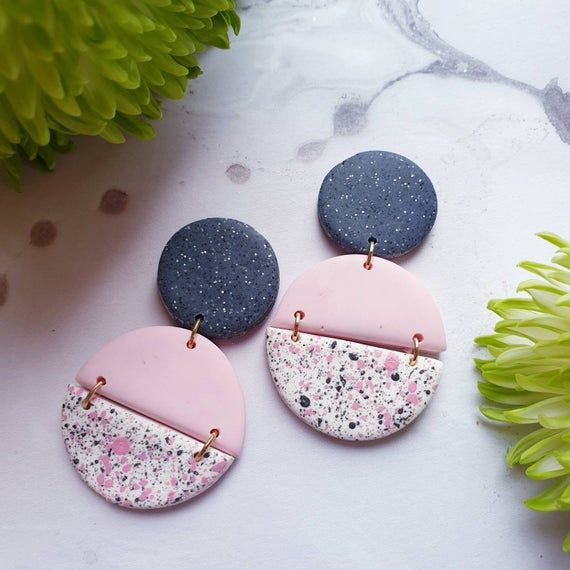 Handmade Lightweight Polymer Clay Earrings Pink and Gray Statement Earrings Spring Statement Earrings Summer Statement Earrings