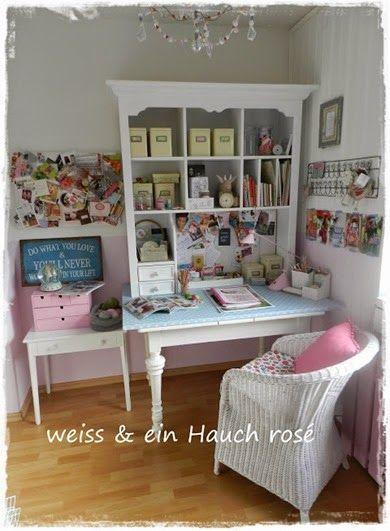 Shabby chic craft room | Craft room | Pinterest | Bureau