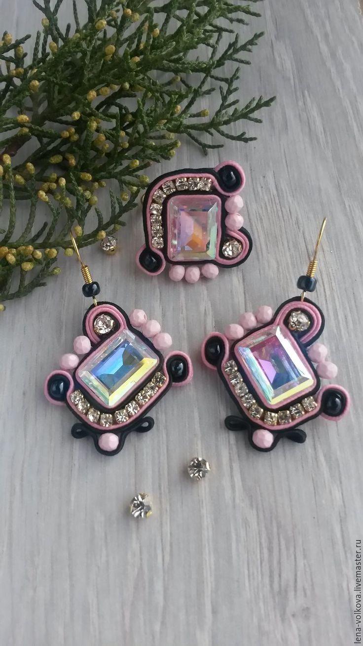 """Купить Розово-черный сутажный комплект ручной работы """"Миранда"""" - розовый, комплект украшений"""