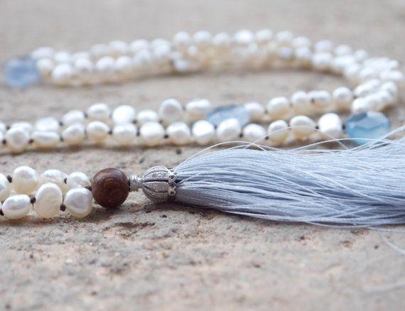 Чешский жемчужное ожерелье кисточкой Boho горный хрусталь Серебро персидский стиль проложить очарование синий халцедон бисером белого мала Светло-серый кисточка
