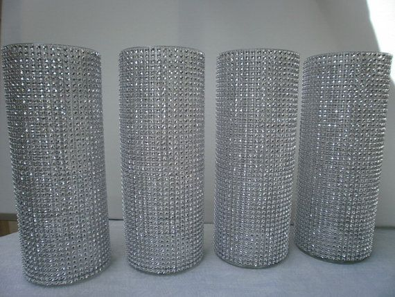 Set Of 10 10 1 2 Tall Cylinder Rhinestone Centerpiece Vase Bouquet Vases Centerpiece