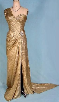 1950 S Hollywood Gold Lame Gown Vintage Evening Gowns