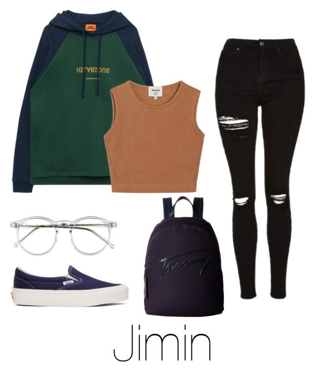 """""""Lazy day with Jimin"""" by infires-jhope ❤ liked on Polyvore featuring Topshop, Samuji, Wildfox, Vans and Tommy Hilfiger"""