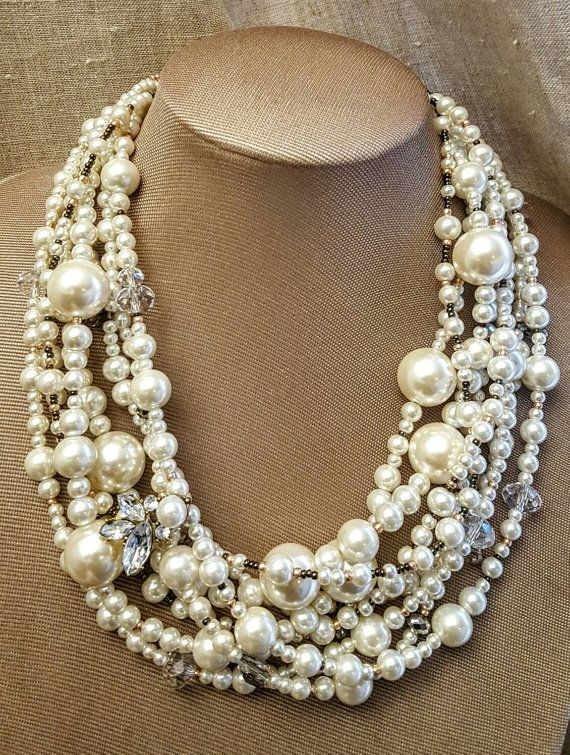 Pearl Jewellery Necklace >> Extra large pearl and crystal multistrand statement necklace, chunky pearl wedding necklace ...