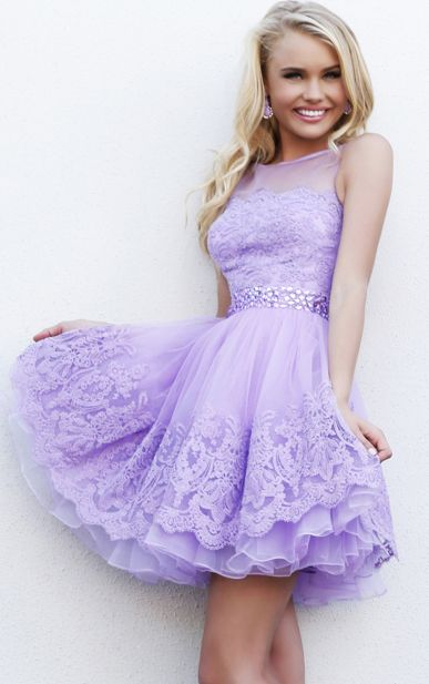 Lace A-line Jewel Short #Prom Dresses