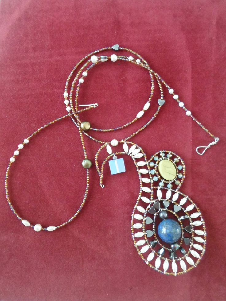 Handmade Lapis and Moonstone Beaded Necklace