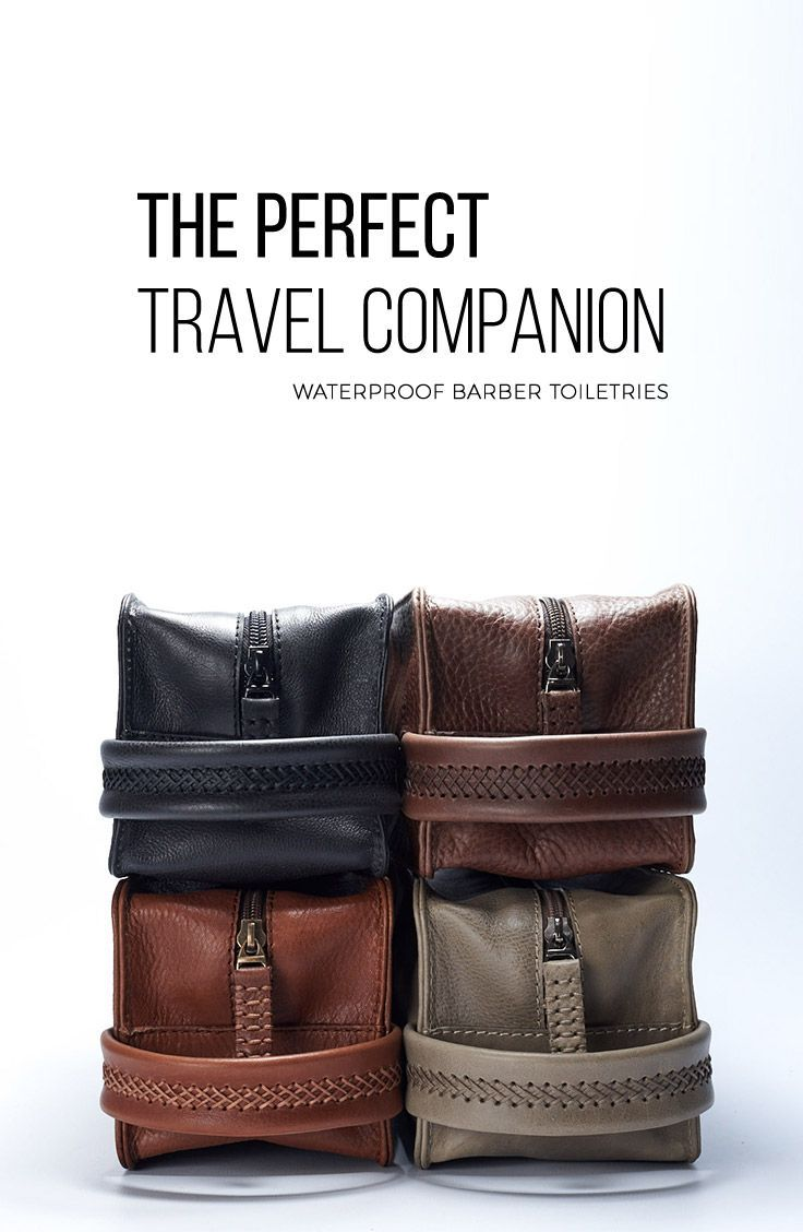 BARBER TOILETRIES, Made from full grain leather. Handmade products. perfect gifts for travel lovers. Leather Dopp kits for stylish men who love quality products.