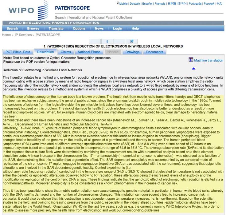"""Telecom Company's Patent Admits: Non-Thermal Exposures To Wireless Radiation Is """"Genotoxic"""", Causes """"Clear Damage to Hereditary Material"""""""