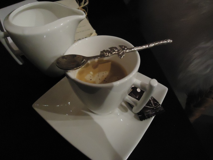 At Salon de The, Gertwiller, Alsace... finally a good cup of coffee in France!