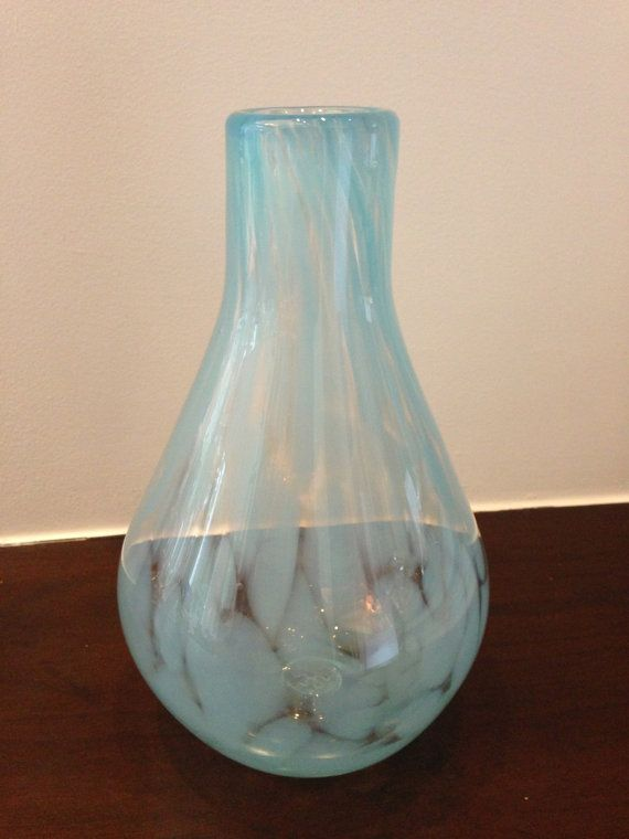 Hand-blown, pale turquoise blue round-bottom vase. on Etsy, $125.00