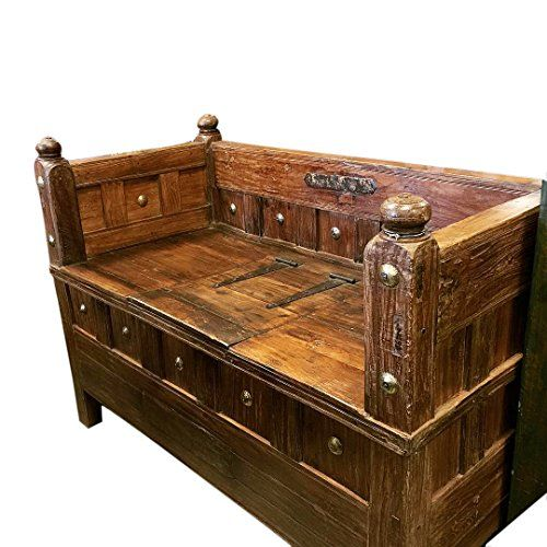 Solid Wood Bench Sofa Couch Storage Chest Furniture: 17 Best Images About Antique Indian Furniture On Pinterest
