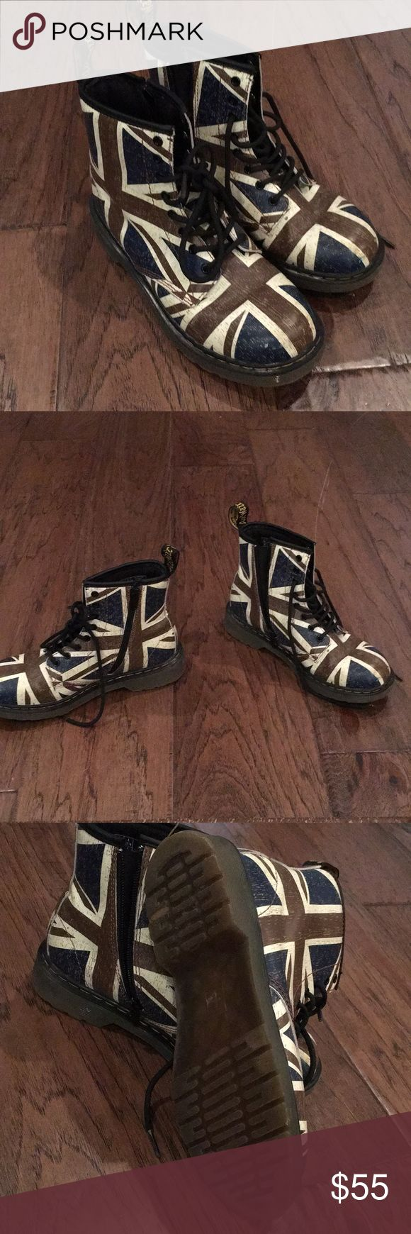British flag Dr. Martens My total faves!  Just sit in the closet, my loss is your gain. So easy to get on with the zipper on the side. Boot says it's a men's 4 and a ladies 5, but those aren't accurate, it fits like a 5.5 in ladies Dr. Martens Shoes Lace Up Boots