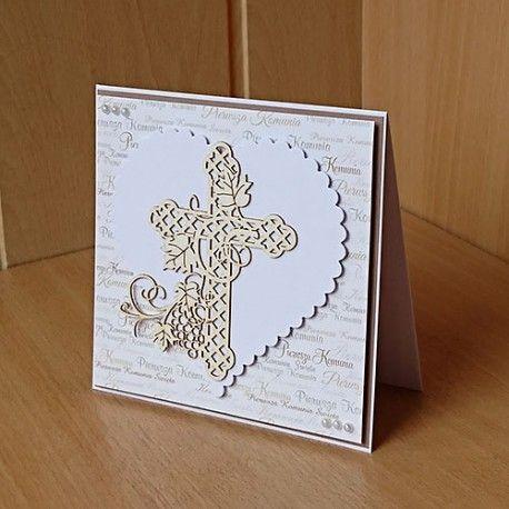 Ręcznie wykonana kartka z życzeniami - pamiątka I Komunii Świętej.