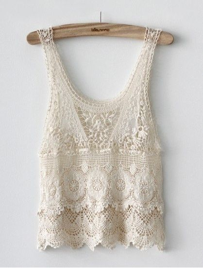 Summertime: Lace Tops, Fashion, Style, Clothes, Lace Tank, Crochet Lace, Crochet Top, Crop Top