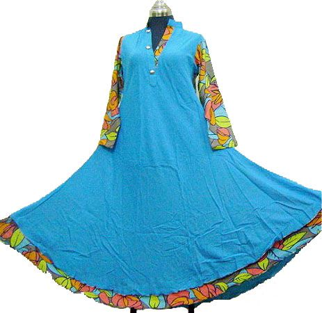 Blue Double Jal Pari 85 Inch Radius Frock Style Malai Linen Arabic Lawn Shirt  Product Code: OLFD-076  Price: Rs.1150.