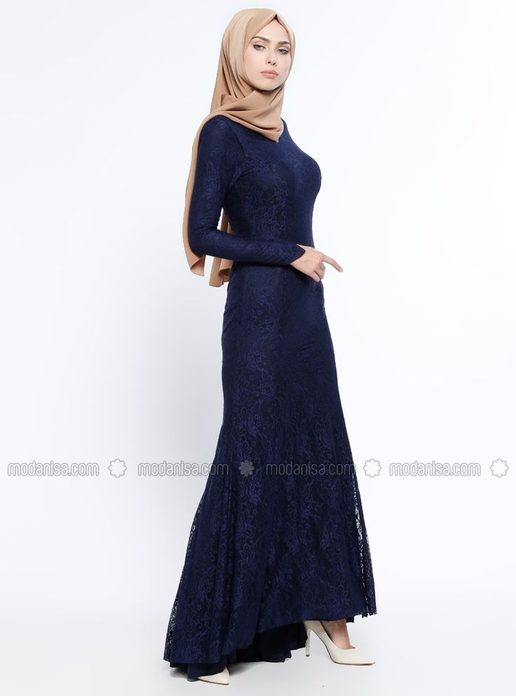 Navy Blue - Fully Lined - Crew neck - Muslim Evening Dress - Mileny