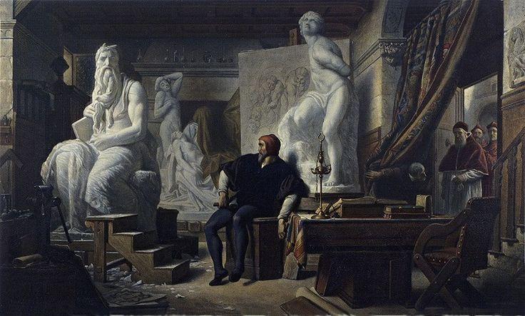 Michelangelo in his Studio Visited by Pope Julius II Alexandre Cabanel