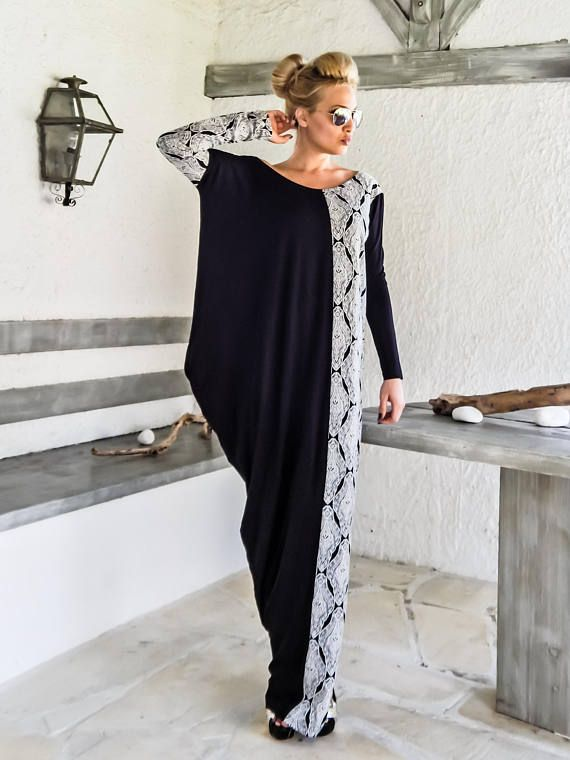 NEW Fall Winter Dress / Black Dress / Elegant Dress / Long Sleeve Dress /  Asymmetric Dress / Plus Size Dress / Loose / #35226
