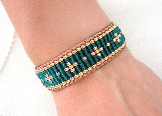 Bead Loom Wrap Bracelet - Emerald Green  Gold Beaded Bracelet
