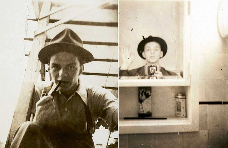 A young Frank Sinatra taking selfies