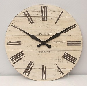 20 Extra Large Wooden Wall Clock Thomas Kent Shabby Chic Wallclock 50cm White Time And Again Pinterest Walls
