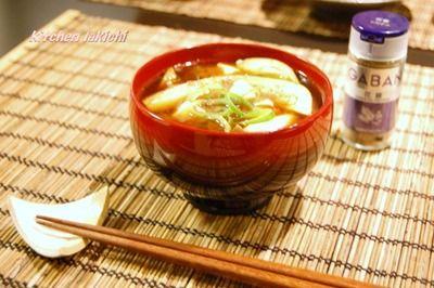 中華風☆茄子とお豆腐の赤だしのお味噌汁〜花椒で♪〜