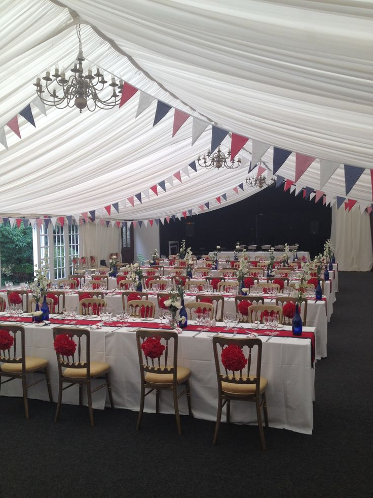 blue red and white theme with bunting