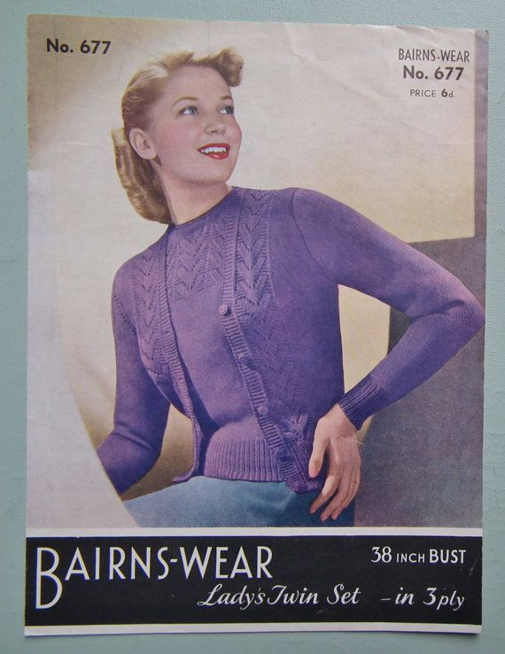 Vintage 1940s 1950s Knitting Pattern Womens Twin Set Sweater Jumper Cardigan 40s 50s original colour pattern Marriner's No. 57 on Etsy, $19.06 CAD