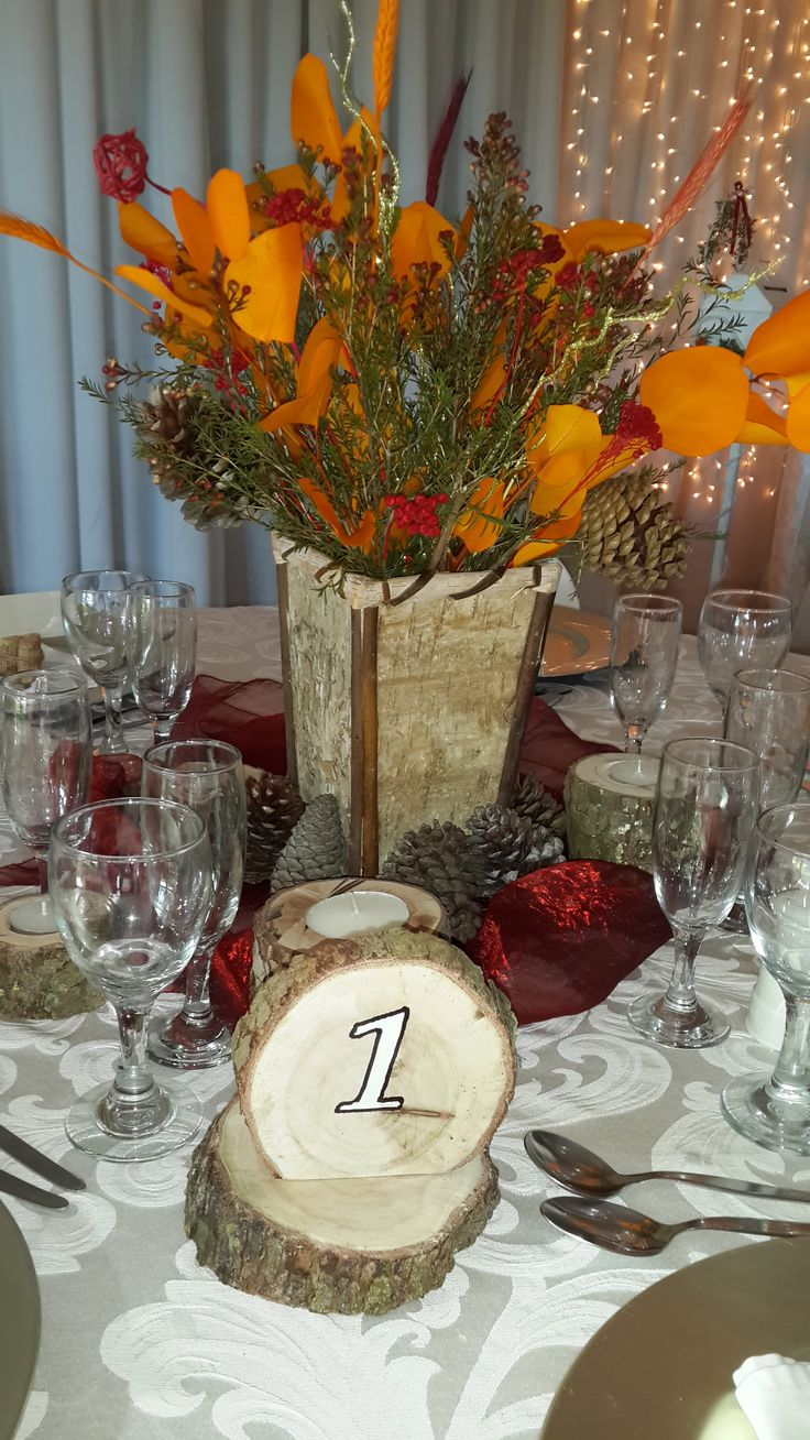 Autumn wedding - wood table numbers and wood candle holders
