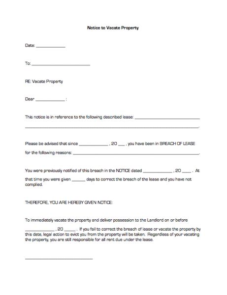 Printable Sample Notice To Vacate Template Form
