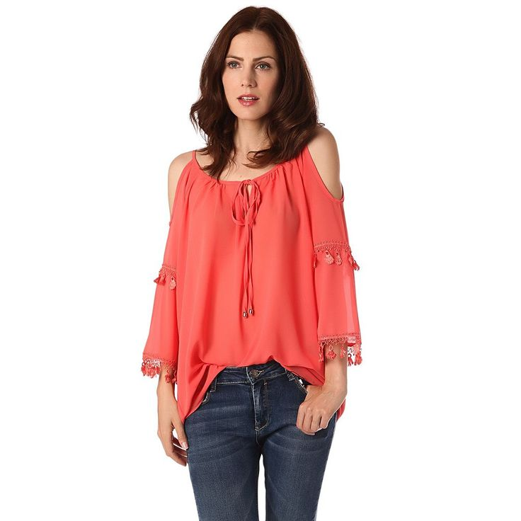 Coral blouse with cold shoulder and crochet sleeve detail