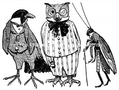 Cartoon Owl Pictures 5 - Owl, Crow and Grasshopper