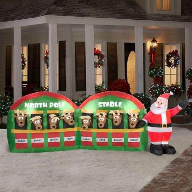 1st Grade Christmas Party Ideas Part - 40: 11u0027 Airblown Santa In Stable With 8 Reindeer Giant Christmas Inflatable