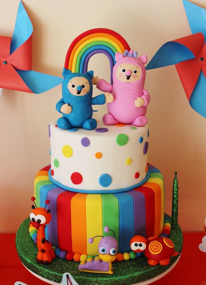Rainbow cake at a Baby TV birthday party! See more party ideas at CatchMyParty.com!