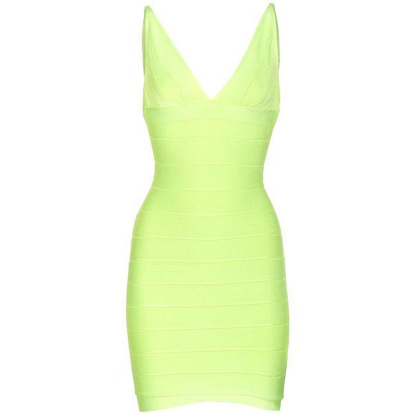 HERVE LEGER Lauren Lime Slim bandage dress ($1,245) ❤ liked on Polyvore