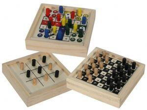 Regalo infantil mini juego madera parchis ajedrez y 3 en raya #Grandetalles