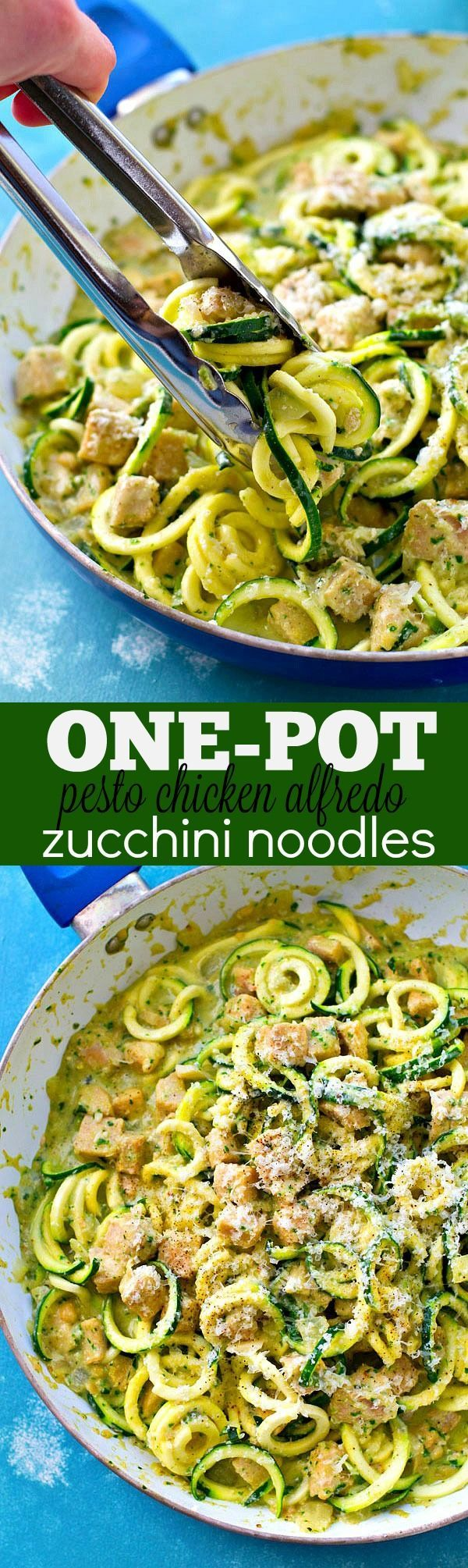 These super-creamy alfredo zucchini noodles get TONS of flavor kicked up by fresh pesto and tender chicken cubes makes it an entire carb-free meal! This one-pot dinner is the comfort food your weeknig
