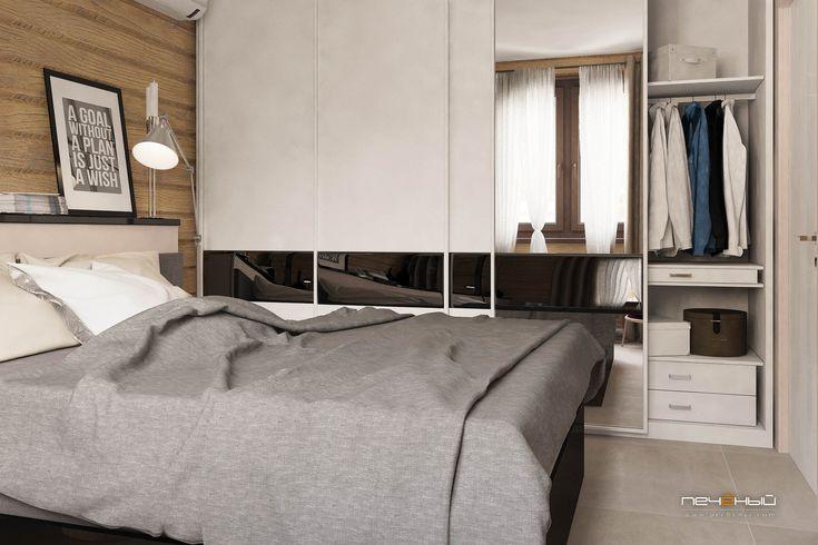"""Дизайн интерьера спальни в деревянном доме в современном стиле. Серый, белый, чёрный, коричневый, дерево. Студия дизайна """"Печёный""""."""