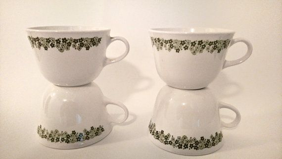 Corelle Tea or Coffee Cups Green Floral Crazy Daisy by awesome80s