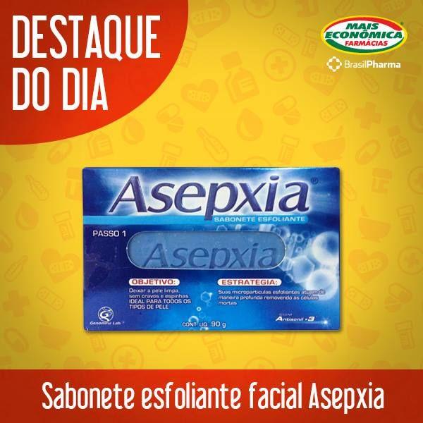 A Asepxia é focada em produtos de limpeza de pele. Para quem tem aquelas imperfeiçõezinhas ou cravos e espinhas, é uma ótima dica! O Sabonete Esfoliante remove a oleosidade e deixa a pele saudável o dia todo! Destaque aqui na Mais Econômica